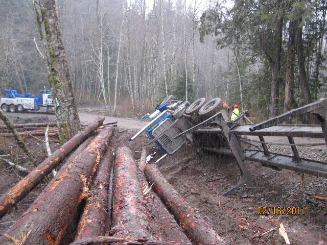 Upside Down Log Truck Recovery in Ravensdale, WA