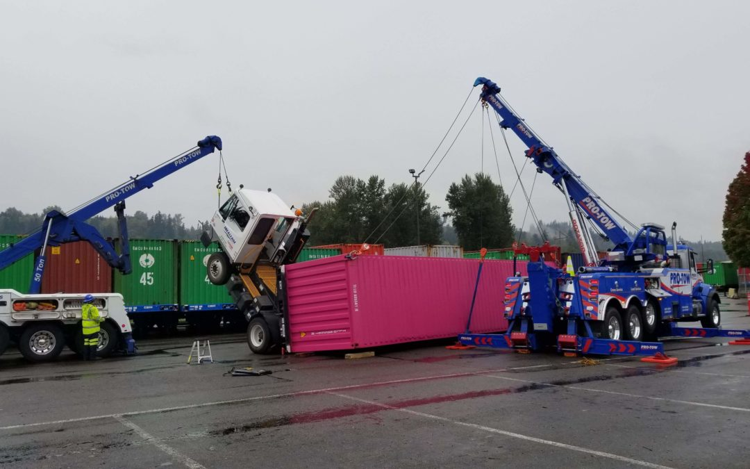 Wheelie! Yard Goat and Shipping Container Overturned in Sumner, WA