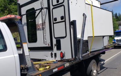 Double Camper Turnover Holds Up Traffic