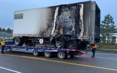 Burnt-Out Trailer Recovery On The I-5